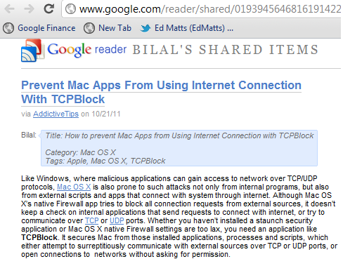 Google Reader Shared Feed
