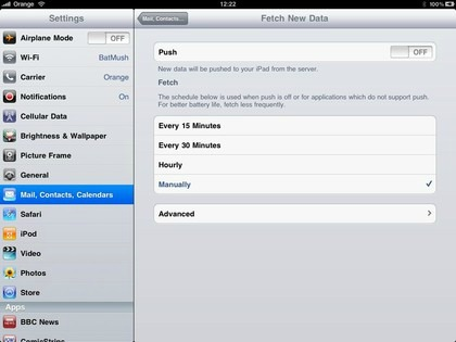 iPad Mail Push Settings