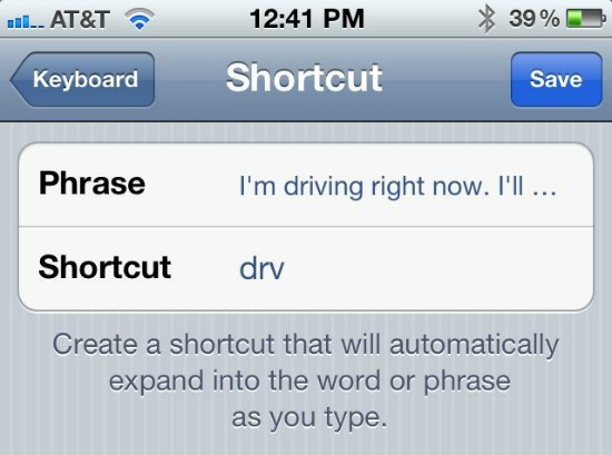 iPhone Text Shortcuts