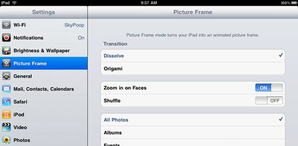iPad Picture Frame Settings