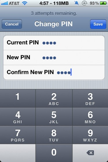 PIN Code iPhone SIM