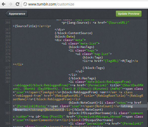 Customize Tumble Html