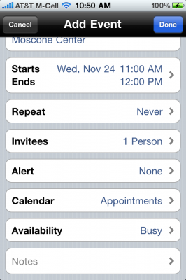 Calendar Event iPhone