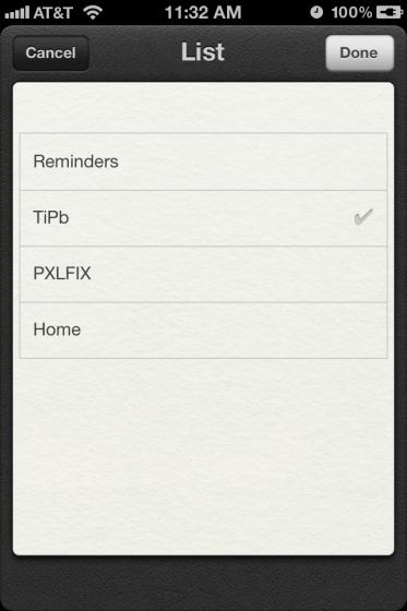 Reminders List in iOS 5