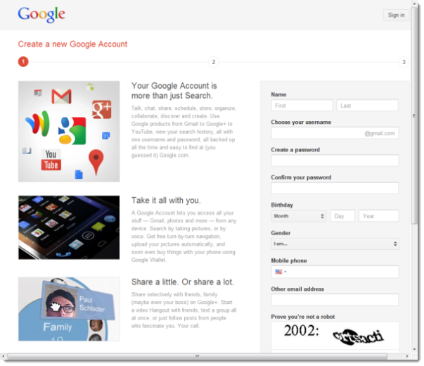 New Google Signup