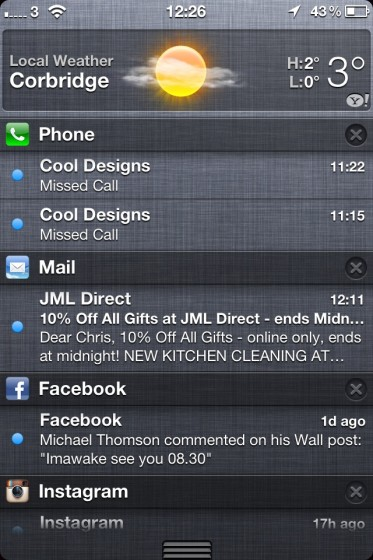Alert Order in iPhone Notification Center