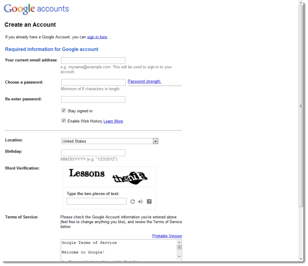 Old Google Signup Page