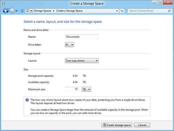 Windows 8 Storage Space