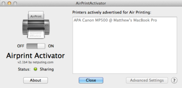iDevice with AirPrint Activator