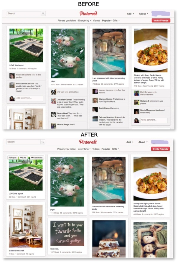 Pinterest Comments before and after