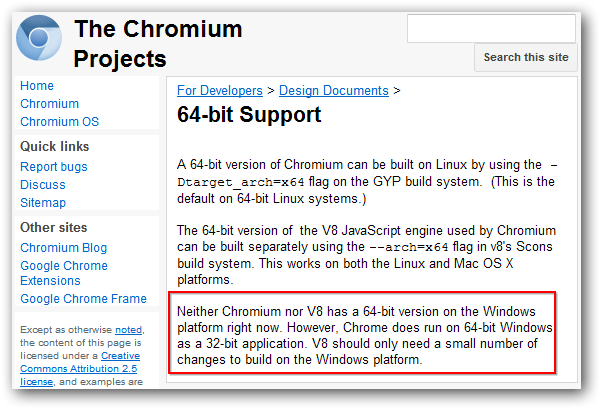 Use of 64 bit web browser on windows