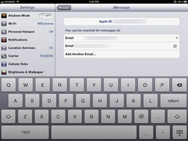 set up imessages on new ipad