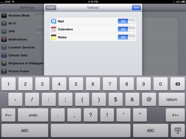 yahoo mail ipad